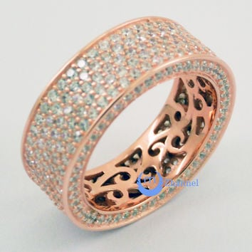 Wedding ETERNITY RING 7mm Band Pave Set Signity CZ Rose Gold over Sterling Silver