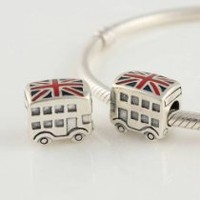 General Gifts London Union Jack Bus With Enamel 925 Sterling Silver Charms/Beads For Pandora, Biagi, Chamilia,