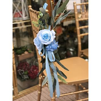 Aisle Maker Pew Chair Lantern Flower - Keepsake Artificial Baby Blue Roses with Eucalyptus Greenery