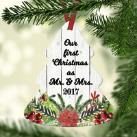 Our First Christmas as Mr. and Mrs. Christmas Tree Ornament - Newlywed Christmas Gift - Bridal Shower Gift for Winter Wedding