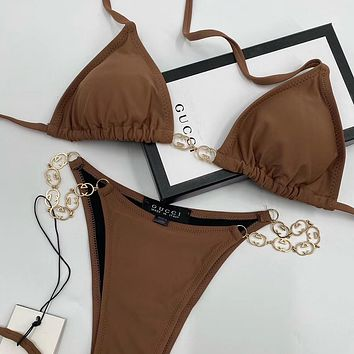 GUCCI Fashion casual split Brown swimsuit