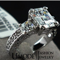The white gold Plated Rectangle Emerald Cut CZ Zircon Engagement Rings = 1931906500