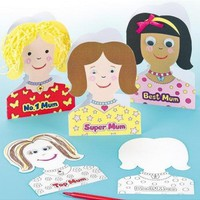 mother's day face greeting cards with envelopes, for kids to paint & personalise (pack of 8)