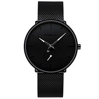 Mens Watches Ultra-Thin Minimalist Waterproof - Fashion Wrist Watch for Men Unisex Dress with Stainless Steel Mesh Band White