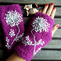 Knitted Gloves, Gloves Crochet, Purple Violet,Mittens, Gloves,Hand Warmer, Winter Gloves,Flowers Gloves,Women Gloves, Arm Warmers,Gift Ideas