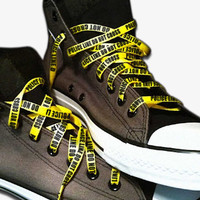 Police Line Do Not Cross shoe laces Yellow Bright Funky shoelaces