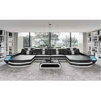 Modern Creative Double Chase Sectional Leather Sofa
