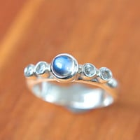 Moonstone & White Sapphires Ring Sterling Silver Moonstone Engagement Ring Sapphire Promise Ring Silversmithed Metalsmithed