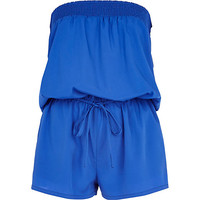 River Island Womens Blue bandeau waisted romper