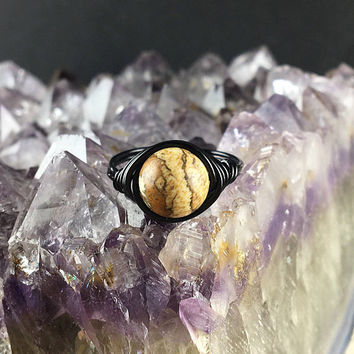 Jasper ring, Picture Jasper ring, Picture Jasper, wire wrapped ring, black ring, stone ring, custom made ring, gemstone ring, bohemian ring