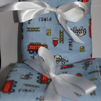 Firefighter baby extra big receiving blanket and burp cloth set fireman and dalmation print