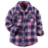 Flannel Button-Front Top