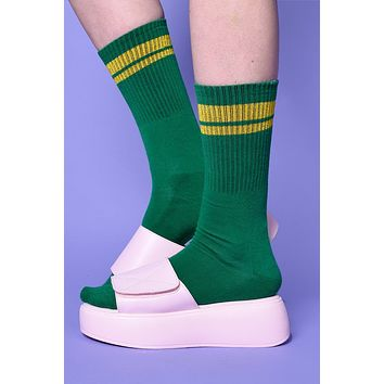 Second Base Striped Crew Socks - Green