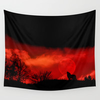Cry wolf Wall Tapestry by Pirmin Nohr