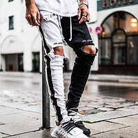 2020 Men's Trendy Ripped Jeans Slim-fit Straight Zipper Foot Color Blocking Washed Denim Pants