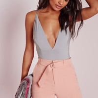 Missguided - Slinky Double Strap Bodysuit Grey