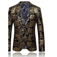 Gold Blazer For Men Luxury Mens Embroidered Blazer Stage Costumes For Singers Slim Fit Wedding Prom Blazers