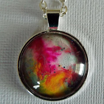 "Pendant, Necklace, Round Pendant, Jewelry, ""Renaissance"", Pink, white, Hand Painted, OOAK, Gift Idea, Unisex, Wearable Art, Artwork, Painted"