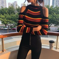 Cut Shoulder Striped Sweater