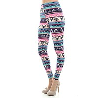 Women's Regular Mixed Small Skull Pattern Print Leggings - Blue Magenta Green
