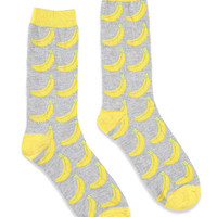 Banana Patterned Crew Socks