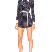Alessandra Rich Polka Dot Mini Dress in Blue & White | FWRD