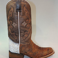 Corral Women's Brown Cracked Boot with White Shoulder
