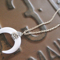Crescent Moon Double Horn Necklace Western White Bull Tusk Pendant