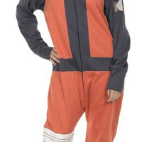 Naruto Shippuden Hidden Leaf Village Hooded One Piece Pajama (Adult Small)