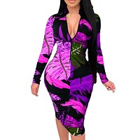 fhotwinter19 hot sale fashion zipper print sexy slim dress
