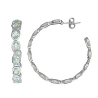 Eternity Style Hoop Earrings Of Blue Topaz Set In Rhodium Finish Sterling Silver