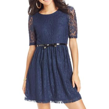 BCX Womens Juniors Lace Elbow Sleeves Party Dress
