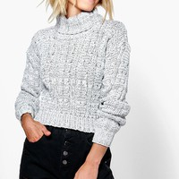 Ria Marl Cable Knit Chunky Crop Jumper | Boohoo