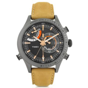 Timex Designer Men's Watches Chrono Timer Gray Stainless Steel Case and Tan Leather Strap Men's Watch