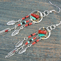 turquoise and coral dreamcatcher earrings turquoise RED in native american tribal boho hippie belly dancer and hipster style
