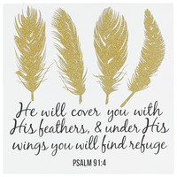 Psalms 91:4 Feathers Wall Art