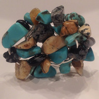 Natural stone chunky howlite cocktail ring size 7