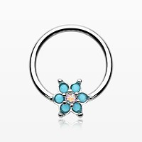 zzz-Turquoise Spring Flower Sparkle Captive Bead Ring