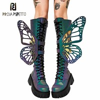 Prova Perfetto 2020 New Fashion Mixed Colors Butterfly Wings Women Thigh High Boots Round Toe Cross-tied Wearproof Casual Shoes