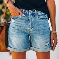 New fashion summer ripped fringed denim shorts women