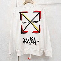 OFF WHITE Autumn Winter Women Men Loose Print Long Sleeve Sweater Sweatshirt
