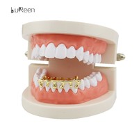 Custom Fit Gold Teeth Grillz Hiphop Teeth Drip Grillz Dental Top&Bottom Grills Tooth Caps Jewelry Party