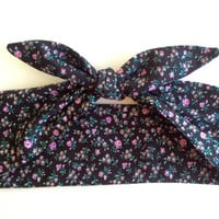 Dolly Headband, Hairband, Retro Tie-Up Bandana - Black with Small Purple Flower Print -  READY TO SHIP!