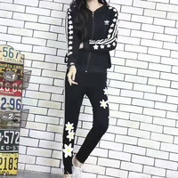"""Adidas"" Fashion Casual Stripe Flower Print Long Sleeve Cardigan Cotton Sweater Set Two-Piece Sportswear"
