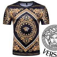 Onewel Versace Men's 3D short sleeve T-shirt Court style Printed Medusa T-shirt Black Gold