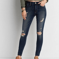 AEO Denim X4 Hi-Rise Jegging, Indigo Rust Destroy