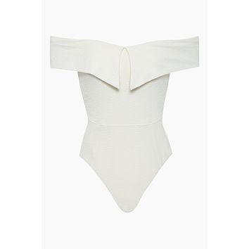 Jaqueline Off Shoulder High Cut One Piece Swimsuit - Ivory
