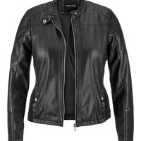 plus size moto jacket with ribbed knit sides