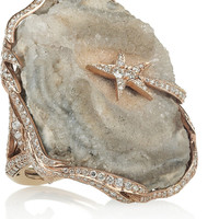 Lydia Courteille Galaxy 18-karat rose gold, diamond and crystallized agate ring NET-A-PORTER.COM