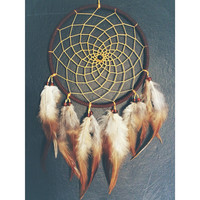 Brown faux suede trim dream catcher, gold yellow web, rooster feathers finish 15cm diameter dreamcatcher hand made